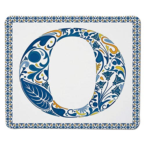 SCOCICI Anti Slip Cloth and Natural Rubber Mouse Pad 3mm Thick Blue Capital Letter in Framework Portuguese Tile Art Azulejo Floral Design Decor Mousepad for Home and Office Not Fad - Blue Tile Decor Capital