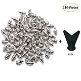 SUNHE YHK 110 Pieces 1/4 Inch Stainless Steel Track and Cross Country Spikes with Spike Wrench, Silver Color