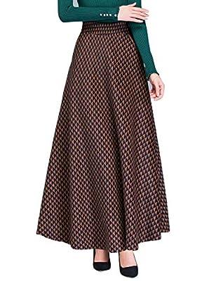 IDEALSANXUN Women's Plaid Maxi Wool Skirt Elastic Waist Long Skirt