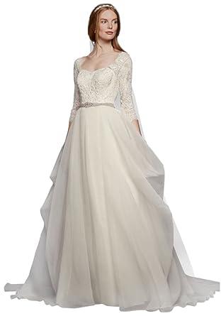f5b6b241d37a0 Oleg Cassini Organza 3 4 Sleeved Wedding Dress Style CWG731 at ...