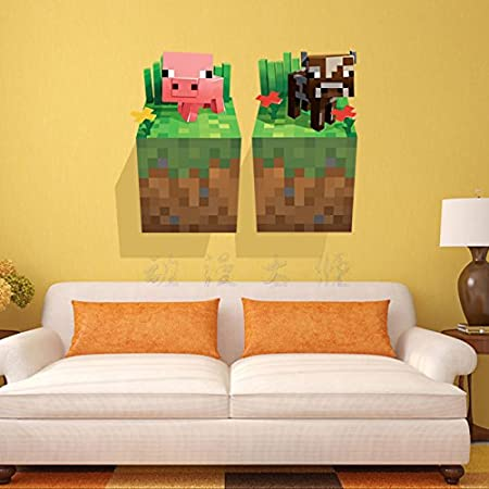 3D Minecraft Style Wall Decal Poster Sticker Room Bedroom Decor Video Game