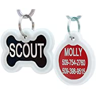 Personalized Pet ID Tags for Dogs & Cats, includes Glow in the Dark Silencer to Protect Tag & Engraving. Front & Backside Engraving. Anodized Aluminum (Bone Tag with Silencer)