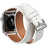 Compatible Apple Watch Band 42mm Genuine Leather Double Tour iwatch Bands Series 1 2 3 for Women Designer Replacement Strap for Apple iPhone Watch - Ivory White