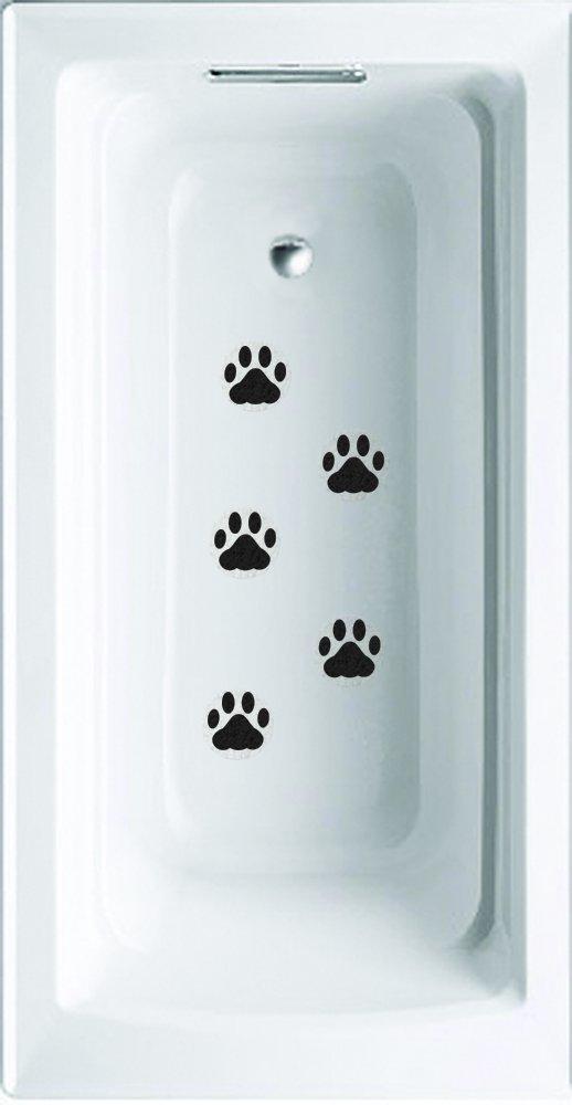 Wazel Black Paw Prints Non-slip saftey shower or tub grip stickers PAWPRI2