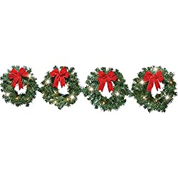 Lighted Christmas Evergreen Wreaths - Set of 4