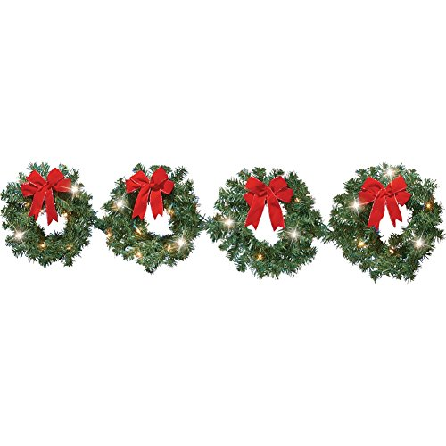Lighted Christmas Evergreen Wreaths - Set of 4 (Outdoor Lighted Wreaths Christmas)