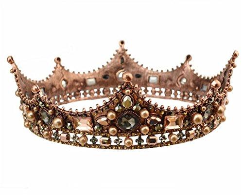 Lefox Baroque Luxury Pearl Bridal Crown Wedding Party Prom Vintage Full Crystal Big King Queen Tiara(#40)