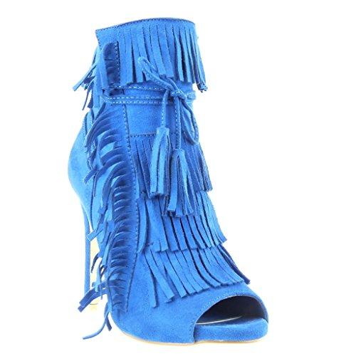 alto pompom Zapatillas 11 Tacón Angkorly Botines CM aguja fleco de abierto escarpín Azul encaje Tacón stiletto de Talón mujer Moda SwafRq