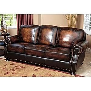 Amazon.com: Abbyson Tannington Hand Rubbed Leather Sofa ...