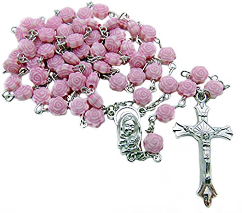 Rosary Rose (CB Catholic Mothers Day Rosary with Pink Rose Bud Shaped Beads 22 Inches Long)