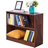 Dland Bookcase WF-SJ001WT, 2-Shelf, TV Stands Storage Cabinet, Composite Wood Board, Walnut, 1 Pack