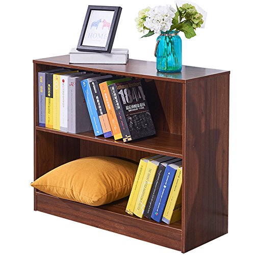 Dland Bookcase WF-SJ001WT, 2-Shelf, TV Stands Storage Cabinet, Composite Wood Board, Walnut, 1 Pack (Online Book Cabinet)