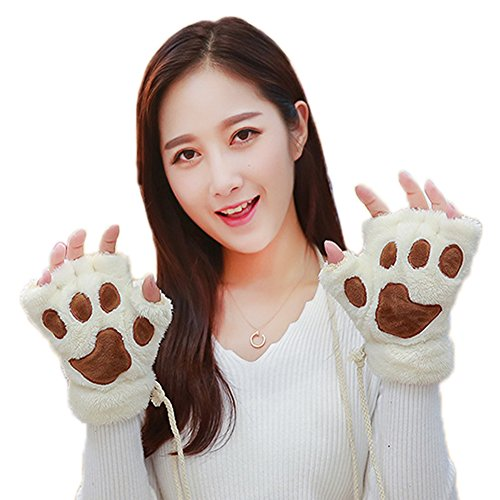 Costume Alpinestars (Half Finger Gloves Mitten Warm Plush Fluffy Bear Paw Gloves Costume Dress Gloves)