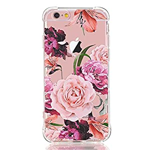 LUOLNH Slim Shockproof Clear Floral Pattern Soft Flexible TPU Back Cover Case Compatible with iPhone 5 5s -Purple Rose