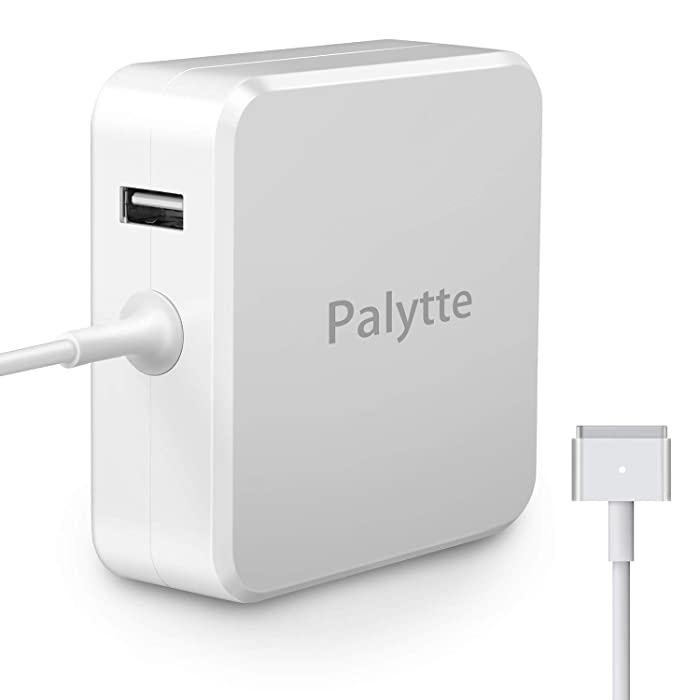 Palytte for MacBook Air Charger,Replacement 45W Magsafe 2 Power Adapter T-Tip Magnetic Connector Charger with 2.4A USB Port for MacBook Air 11 inch and 13 inch (45W-T)