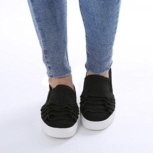 Elegante Kopf Schuhe Schuhe Runde Einzelne Flache Schuhe Freizeitschuhe Schuhe Wildleder Schuhe Schuhe Spitze Schuhe Damenschuhe Große Schuhe Weibliche friendGG Schwarz Schuhe XPH7gqwxF