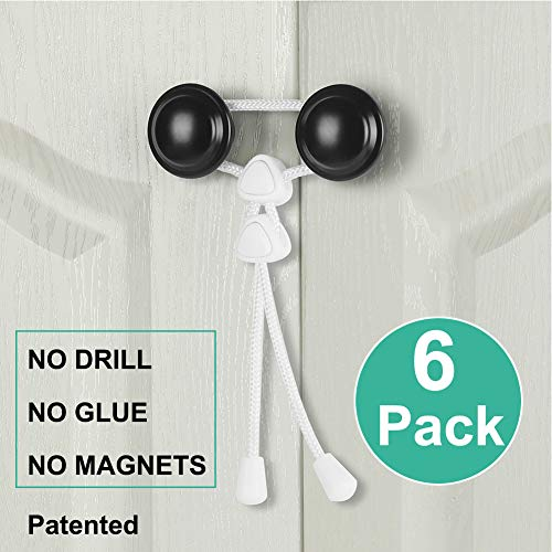 2 Pack White by Fabe Fabe Baby Safety Cabinet Locks for Knobs Child Safety Cabinet Latches for Home Safety Strap for Baby Proofing Cabinets Kitchen Door No Drill No Screw No Adhesive//Color White//