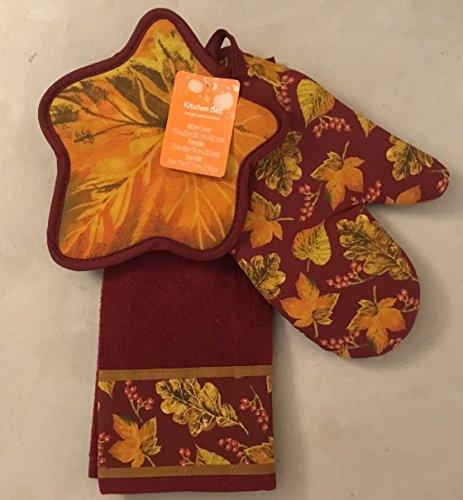 Fall Pot - Fall Leaves Kitchen Towel-Potholder-Oven Mitt Ensemble 100% Cotton