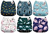 #10: Mama Koala One Size Baby Washable Reusable Pocket Cloth Diapers, 6 Pack with 6 One Size Microfiber Inserts (Run to Space)