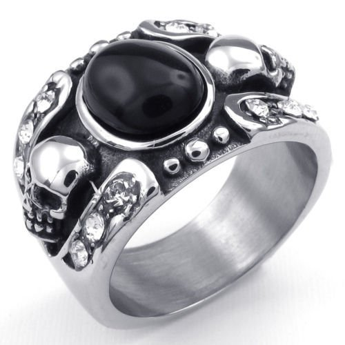 [Aooaz Men's Ring Stainless Steel Ring Biker Silver Skull Death S Head Black Onyx Vintage Gothic Punk] (Roman Goddess Costume Pattern)