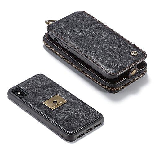 Grandcaser Funda para iPhone X/10 5.8,2 en 1 Desmontable Estuche Rugged Armor Premium Cuero Protectora Flip Book Style Cover Case Cremallera Wallet Billetera Carcasa - Marrón Negro