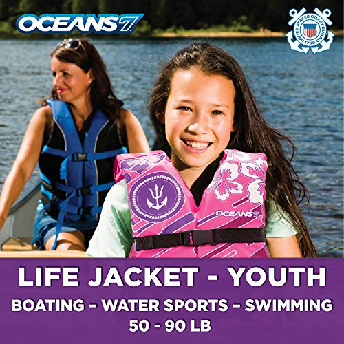 (New & Improved Oceans7 US Coast Guard Approved, Youth Life Jacket, Flex-Form Chest, Open-Sided Design, Type III Vest, PFD, Personal Flotation Device, Pink/Berry )