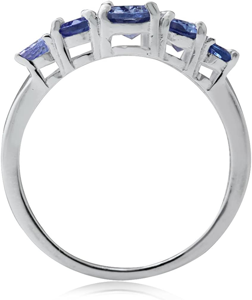 925 Sterling Silver Ring 2.13 Ct Genuine Tanzanite /& White Topaz Promise Band