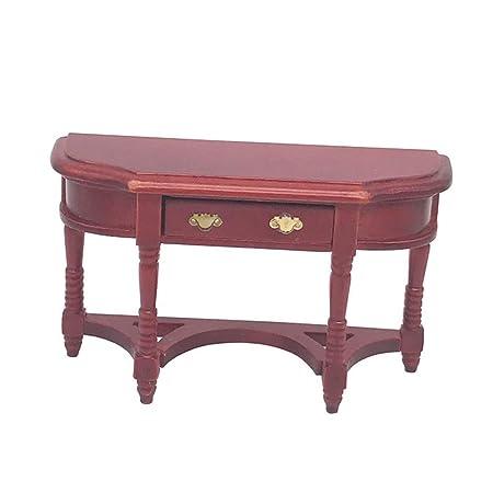 KingbeefLIU 1/12 Mesa De Escritorio De Madera Vintage Mini Muebles ...