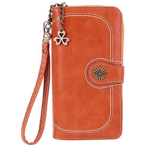 (Women's Large Capacity Luxury Soft Wax Leather Clutch Wallet Card Holder Organizer Ladies Fashion Retro Purse (Orange L))