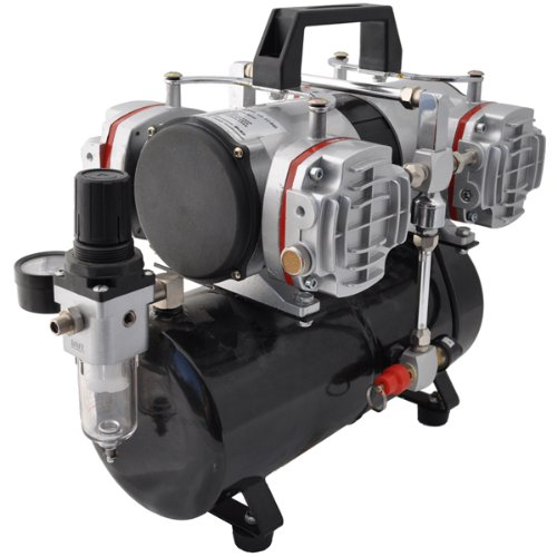 Master Airbrush Model TC-848, High-Performance Four Cylinder Piston Air Compressor with Tank and Free 6 Inch Airbrush Hose