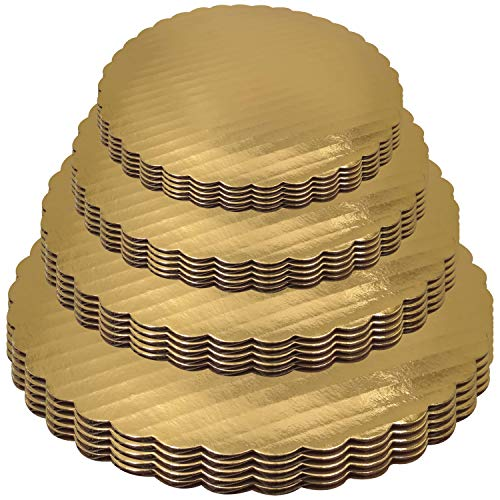 (Gold Cake Boards 6 8 10 12 Inch Set of 20 Circles Variety Pk Grease Proof Rounds)