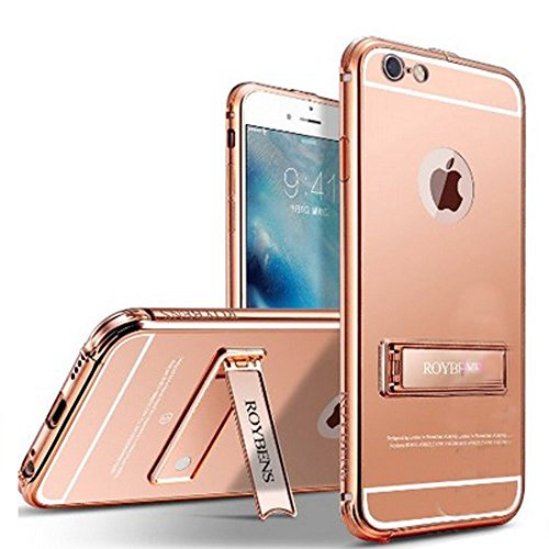 Protector Case Aluminum - iPhone 6s Plus Case And 9H Hard Glass Screen Protector, ROYBENS Luxury [Aluminum Metal Bumper] [Metal Kickstand] [Mirror Back] Case Cover Skin For Apple iPhone 6S Plus And 6 Plus