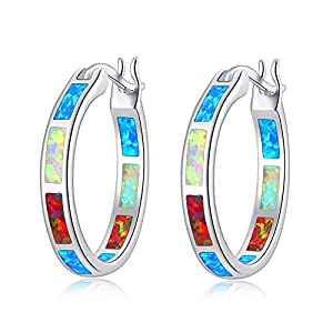 CiNily Sterling Silver Plated/Rose Gold Plated/Yellow Gold Plated Hoop Earrings,Multicolor Opal Small Hoop Earrings for…