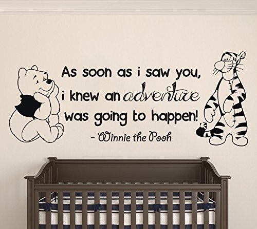Winnie Pooh & Tigger - As Soon As I Saw You Quote Baby Room Wall Decal- Decal For Baby's Room (Wide 30