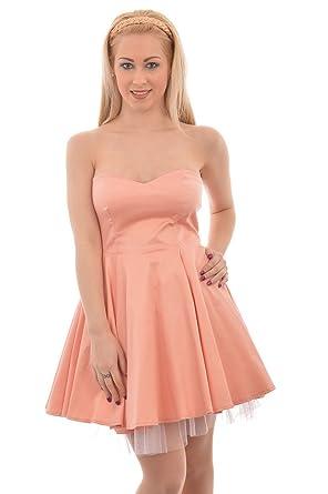 Womens Boob Tube Prom Dress - Peach - UK 8 - EU 36
