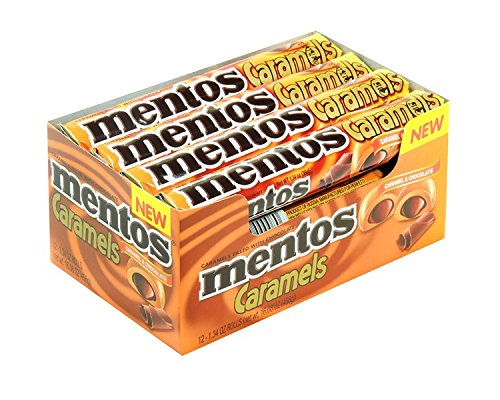 Mentos Candy Roll, Caramel & Chocolate, Party, Halloween, 1.34 Ounce/9 Pieces (Pack of 12) -