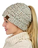CC BeanieTail Soft Stretch Cable Knit Ponytail Beanie Hat Oatmeal (Small Image)