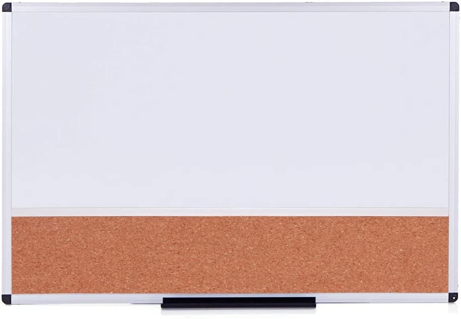 VIZ-PRO Magnetic Dry Erase Board and Cork Notice Board Combination, 36 X 24 Inches, White Bulletin Board for School Office and Home