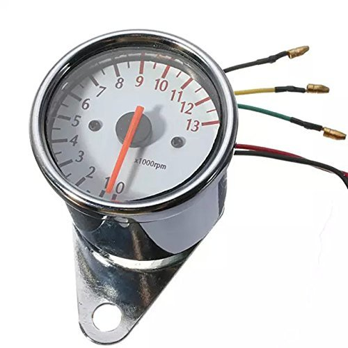 Goliton® Motorrad Konvertierung Induktivität Elektronik Drehzahlmesser Tachometer Gehäuse weiß Zeiger - Silber