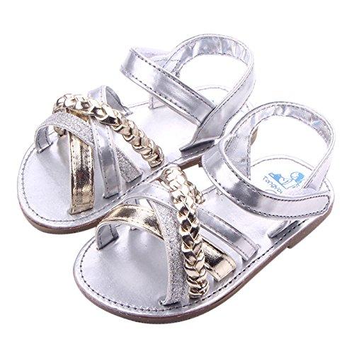 Happy Cherry Baby Mädchen PU Leder Sandalen Rutschfest Lauflernschuhe Sommer Babyschuhe Neugeborene Schuhe für 3-11 Monate Silber