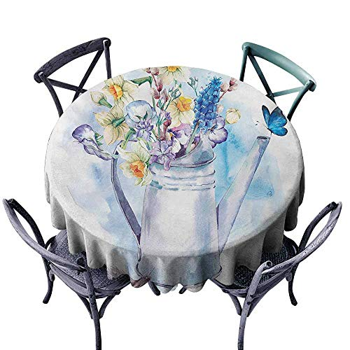 Lgckeg Easy Care Tablecloth Daffodil Summer Bouquet with Violets Puss-Willows and Butterflies in Old Fashion Watering Can Multi Picnic D51