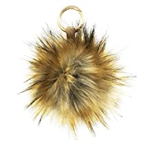 1PC 5INCH Faux Raccoon Fur Large Ball Pom Pom Leather Keychain Womens Bag Purse Charms (Natural)