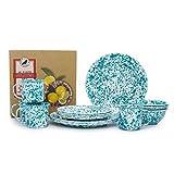 Crow Canyon Home Enamelware Starter Set, 16 pc, Turquoise & White Marble