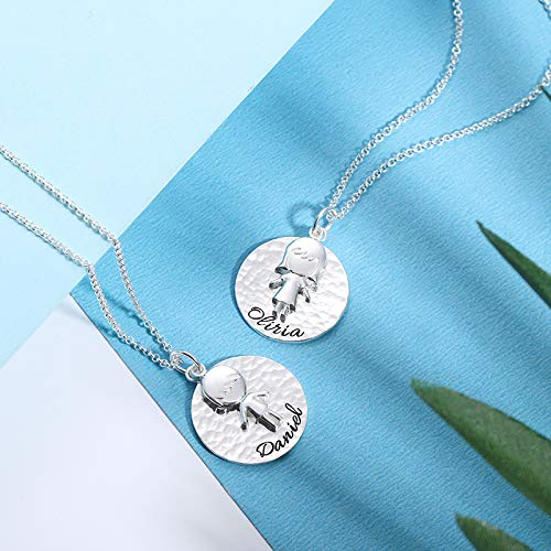 Getname Necklace Personalized Children Kids Name Hammered 925 Sterling Silver Necklace for Mom
