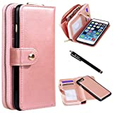 iPhone 7 Plus Case, Style4U Premium PU Leather flip Wallet Bag Pouch Case Cover with ID & Credit Card / Cash Holder Slots Pockets for Apple iPhone 7 Plus with 1 Style4U Stylus [Rose Gold]