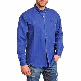Men's Royal Blue Long Sleeve Textured Button Down Shirt Size Medium