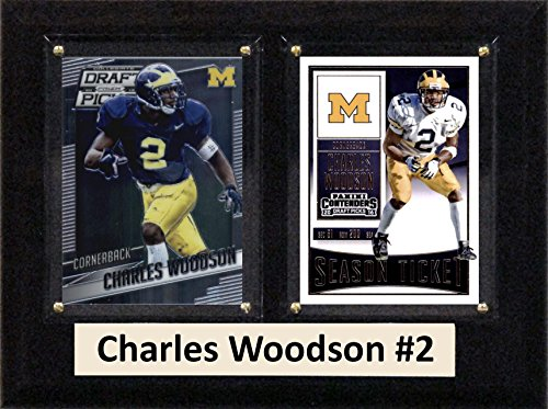 "C&I Collectables NCAA Michigan Wolverines Men's Charles Woodson Two Card Plaque, Brown, 6""X8"" from C&I Collectables"