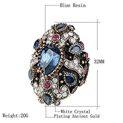 Anneaux de mariage vintage pour femme en cristal plaqué or antique - 10