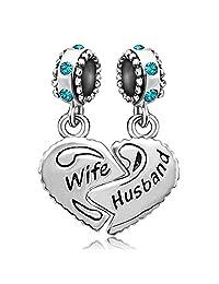JMQJewelry Heart Wife Birthstone Love Husband Family Charms Beads For Bracelets