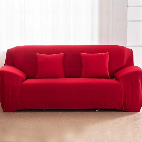 Amazon.com: Juego de sofá de color sólido con funda elástica ...